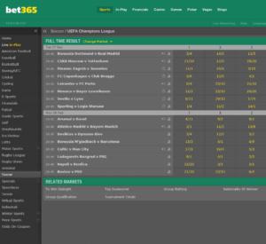 Bet365 Champions League Odds