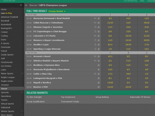 Bet365 Champions League Odds