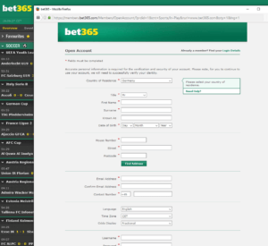 Bet365 Sign Up Form