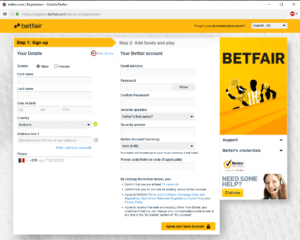 Betfair Sign Up Form