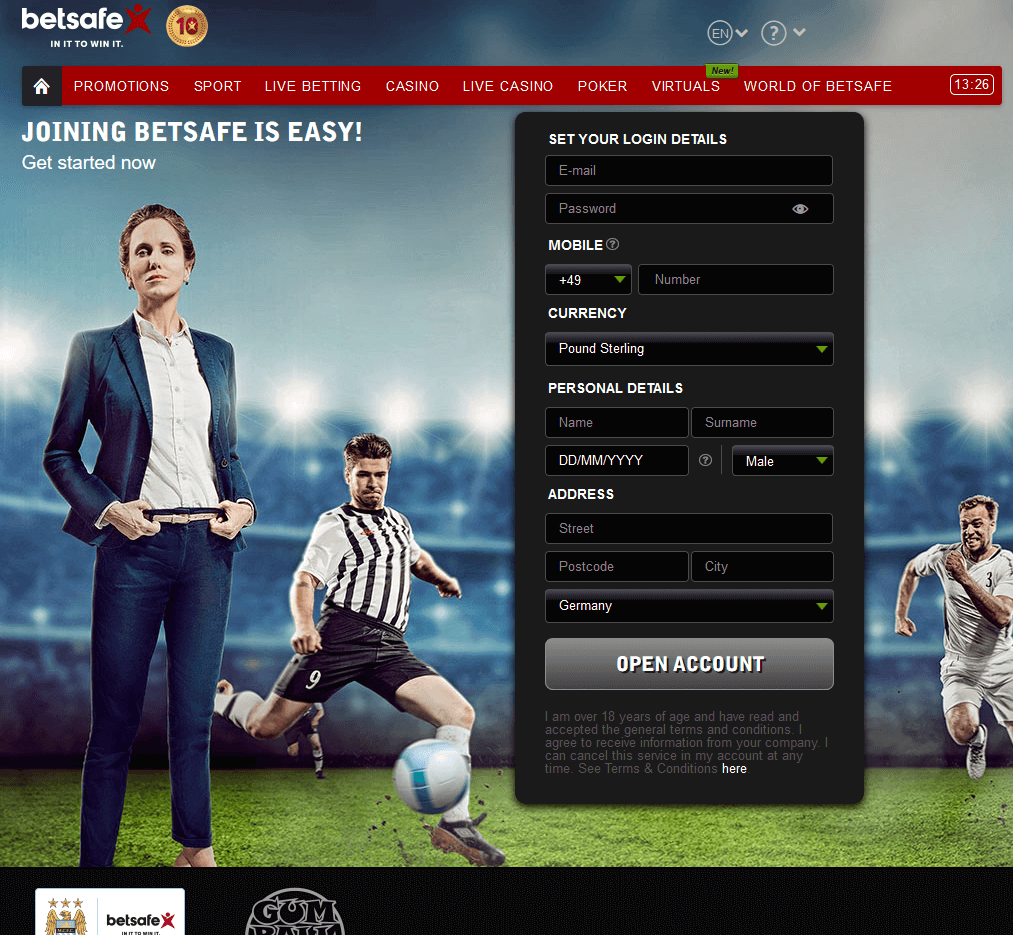 Betsafe Signup Form