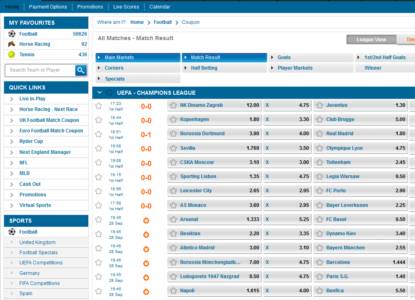 Winner Sports Champions League Odds
