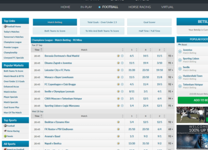 Betvictor Champions League Odds