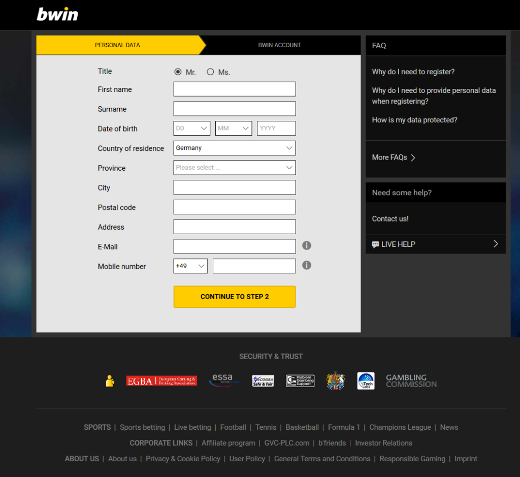 Bwin Signup Form