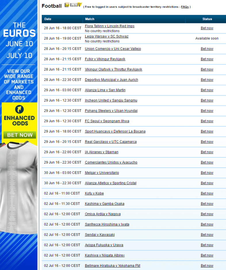 william-hill-streaming-schedule
