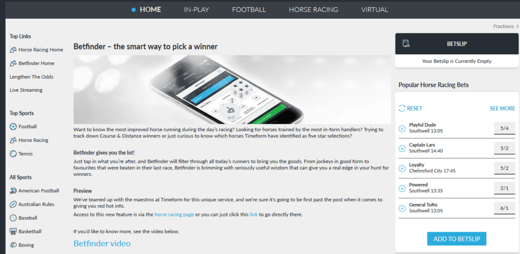 BetVictor Betfinder feature