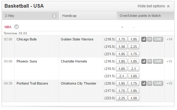 Over Under Tipico nba betting markets