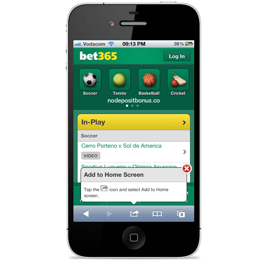 Bet365 In-Play Mobile Betting