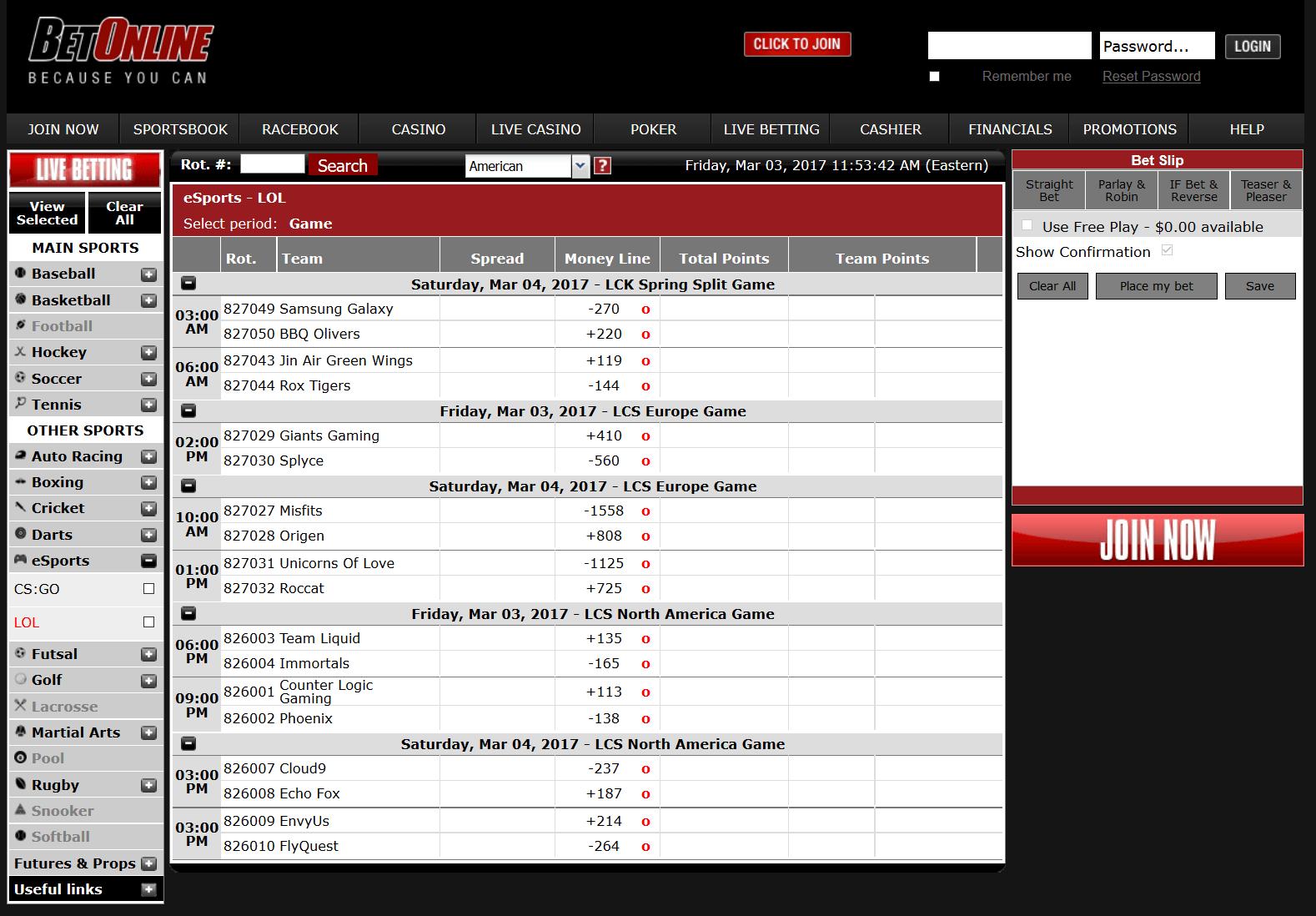 Betonline Esports Schedule