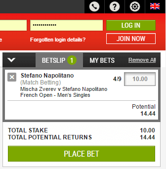 Ladbrokes Live Betting Slip