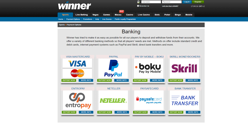 Winner Sports Payment Methods