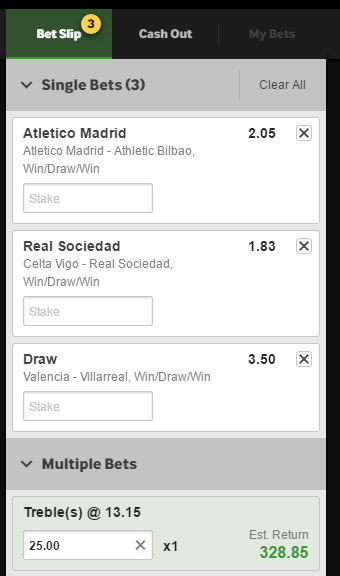 Betway Treble Slip