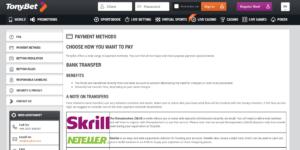 Tonybet Payment Methods