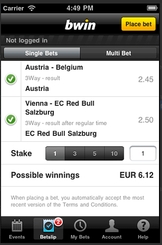 Bwin Mobile App Screenshot