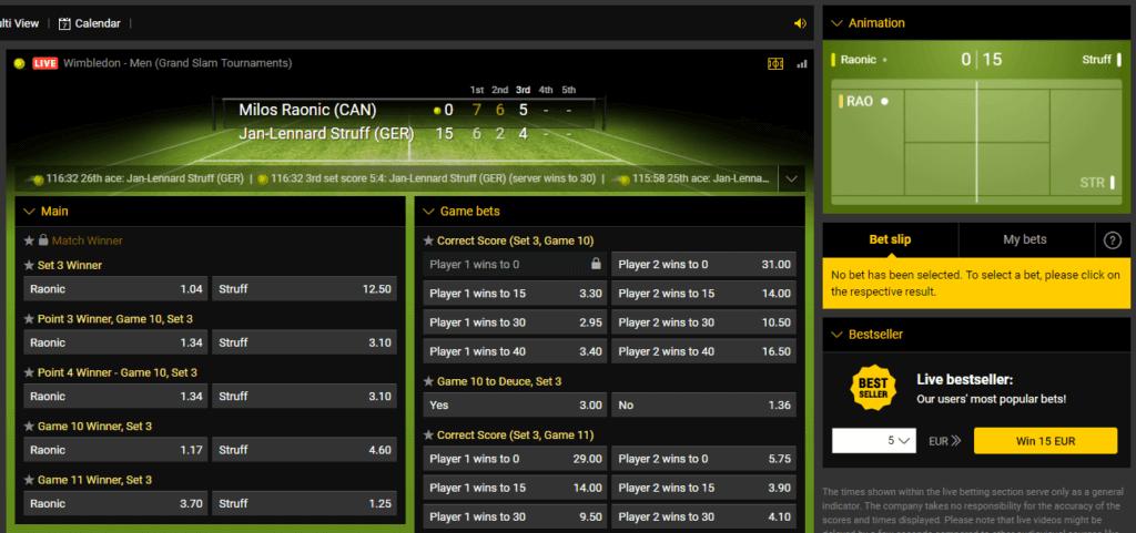 Bwin Tennis Betting Markets
