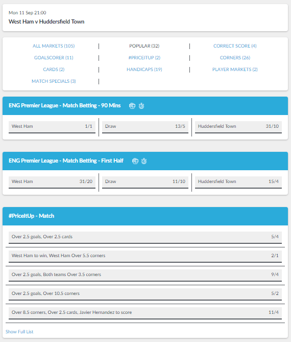 BetVictor Betting Markets
