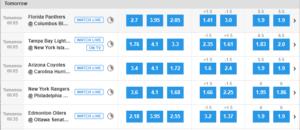 Betfair Ice Hockey Betting Markets NHL Matches