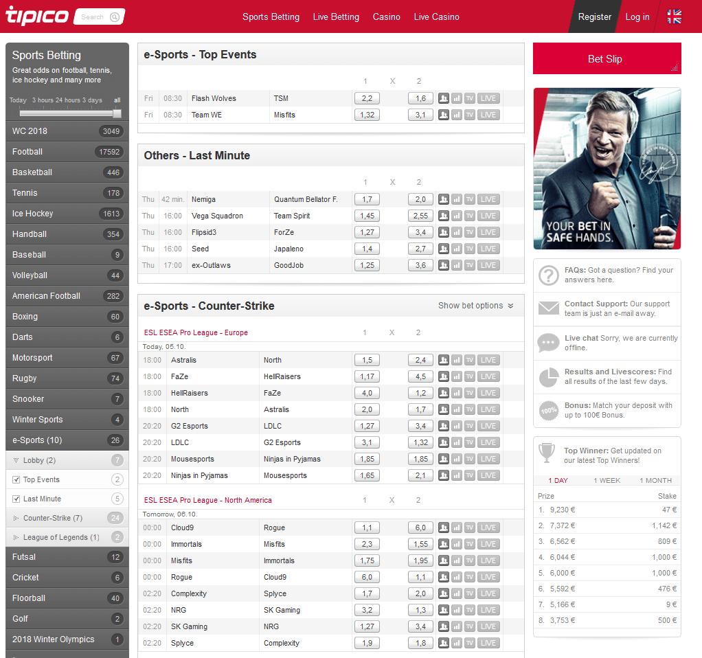 Tipico ESports Upcoming Matches