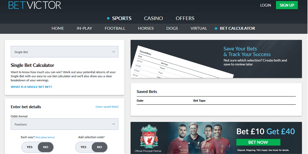 Betvictor Bet Calculator Feature