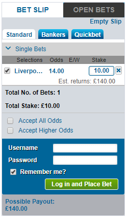 Winner Enhanced Odds Bet Slip