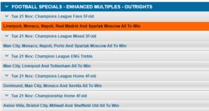 Winner Enhanced Odds Sports Champions League