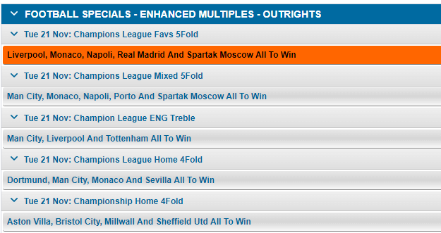 Winner Enhanced Odds Sports Champions League