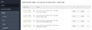 Sportsbet.io Esports Betting Markets
