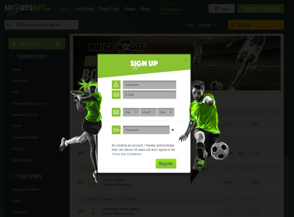 Sportsbet.io Registration