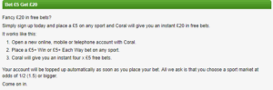 Coral Free Bet Details
