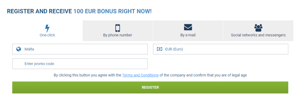 1xbet Registration Form