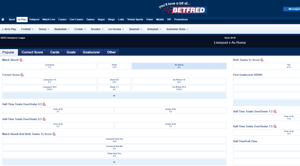 Betfred In Play Betting
