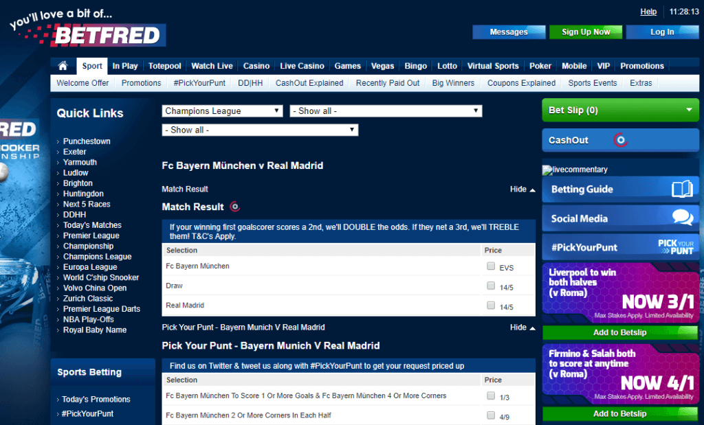 Betfred Sports Betting Odds