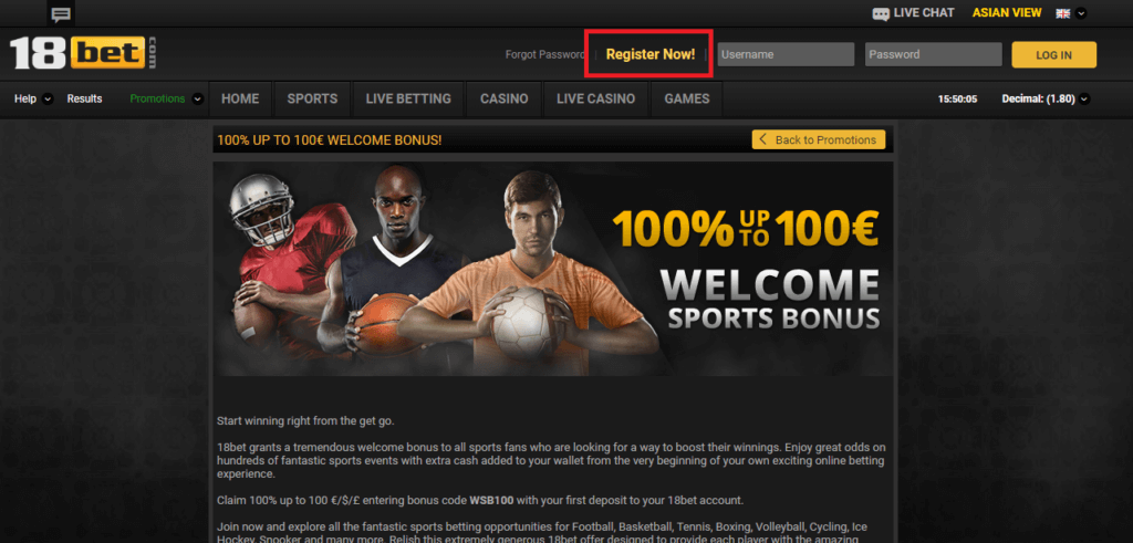 18bet Register Now
