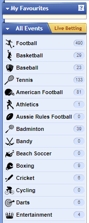 Sbobet Sports Selection