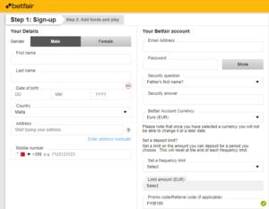 Betfair Exchange Registration