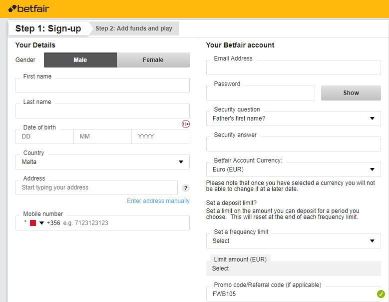 Betfair Exchange Registration