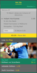 Bet365 Big Bash League Bet Slip