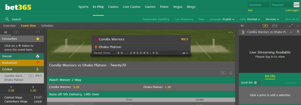 Bet365 Big Bash League In-Play Betting