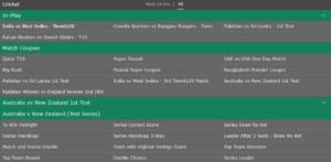 Bet365 Cricket Betting Markets