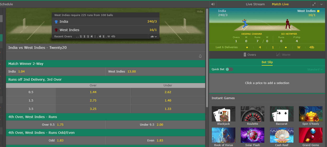 Bet365 Cricket In Play Betting