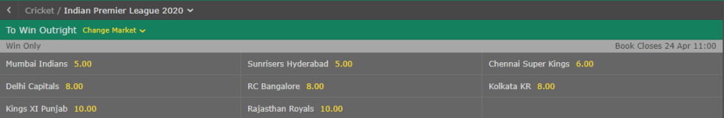 Bet365 Indian Premier League Outright Betting