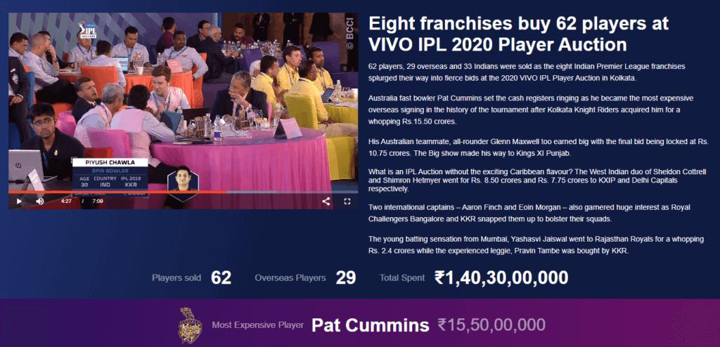 Indian Premier League Player Auction 2020